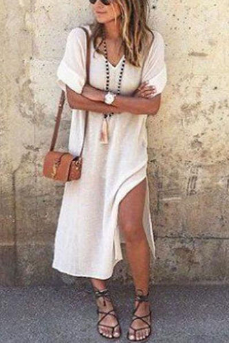 V Neck  Side Slit  Plain Casual Dresses