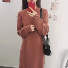 Fashion Long Sleeve Loose Flattering Knitted Maxi Dress