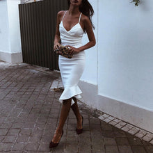 Sexy White Sleeveless Plain Bodycon Dress
