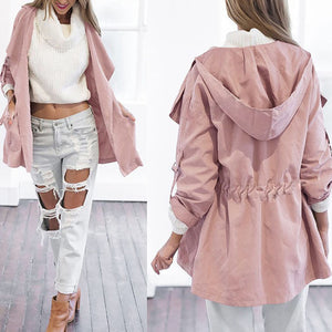 Lapel  Drawstring  Plain Trench Coats