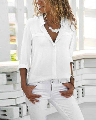 Lapel Long Sleeve Plain Elegant Blouses
