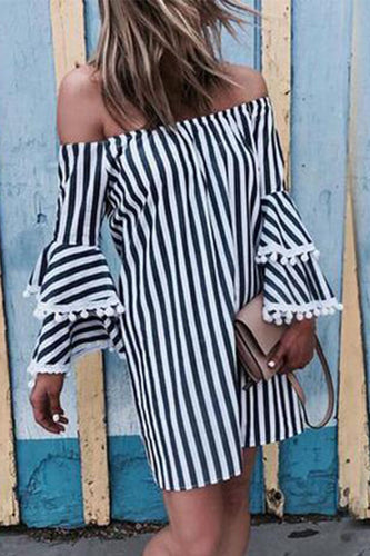 Bohemian Sexy Off Shoulder Stripe Ruffled Mini Vacation Dress