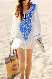 Casual Loose Embroidered Long-Sleeved  Beachwear
