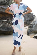 V Neck Geometric Maxi Dresses