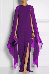 Long-Sleeved Cape Open Sleeve Plain Maxi Dress