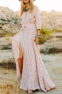 V Neck  Asymmetric Hem Maxi Dresses