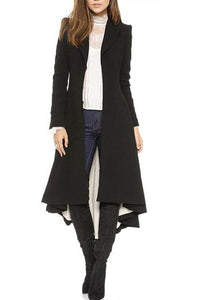 Elegant Lapel Long Sleeve Button Asymmetrical Hem Coats