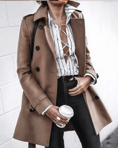 Fashion Turndown   Collar Pure Colour Long Sleeve Coats