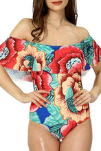 Collarless  Flounce  Printed One Piece