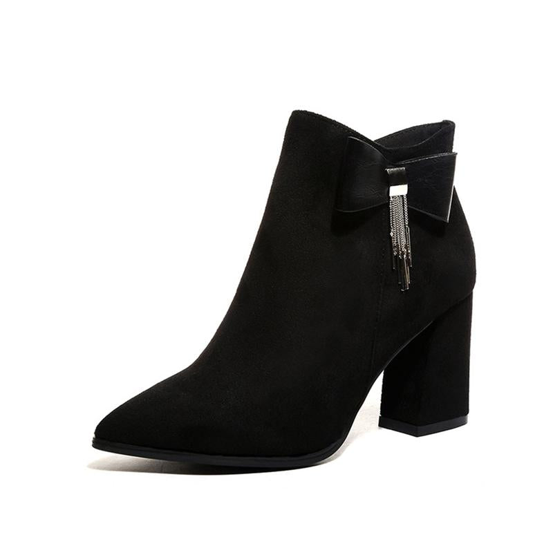 Plain  Chunky  Mid Heeled  Faux Suede  Point Toe  Date Boots