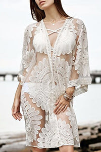 Embroidered Lace Perspective Bikini Blouse