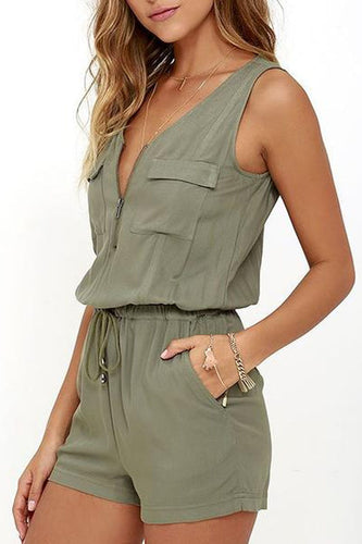Sexy Fashion Pure Color Two-Piece Jumpsuit