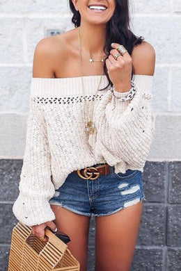 Sexy Off Shoulder Hollow Out Lantern Sleeve Knitting Sweaters