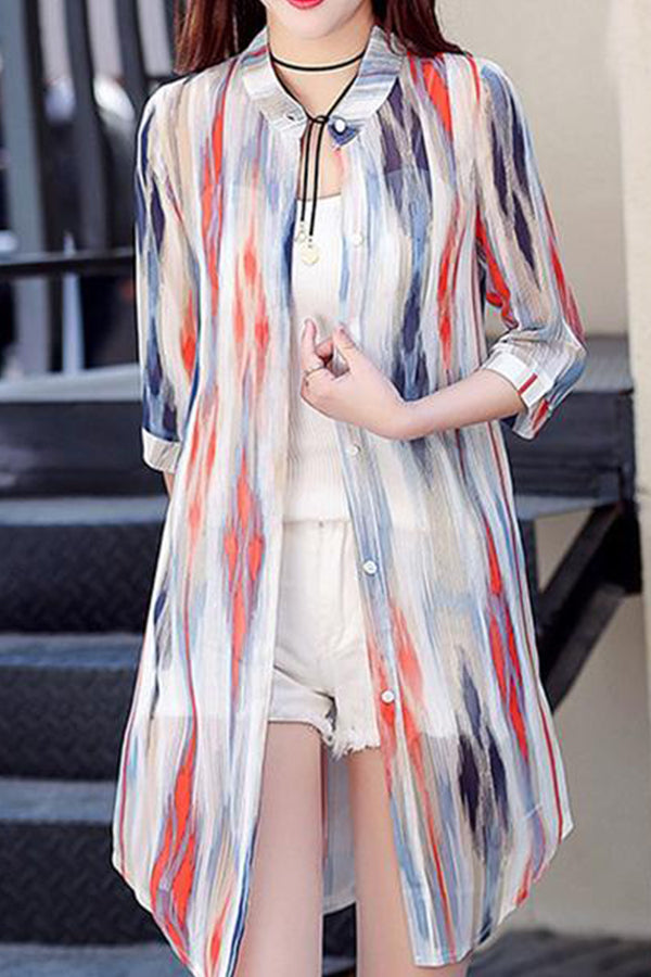Collarless  Single Breasted  Striped  Long Sleeve Cardigans
