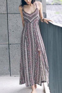 Halter  Back Hole  Printed Maxi Dresses