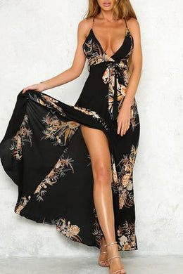 Deep V Neck Floral Printed Maxi Dresses