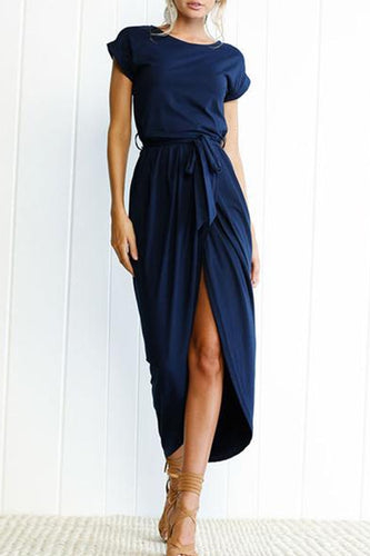 Round Neck  Belt  Plain Maxi Dresses