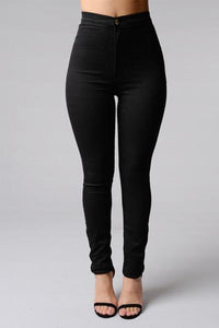 Long  Basic Autumn Plain Jeans