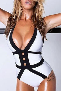Halter  Contrast Trim One Piece