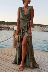 Sexy Deep V Collar Flouncing Maxi Dress