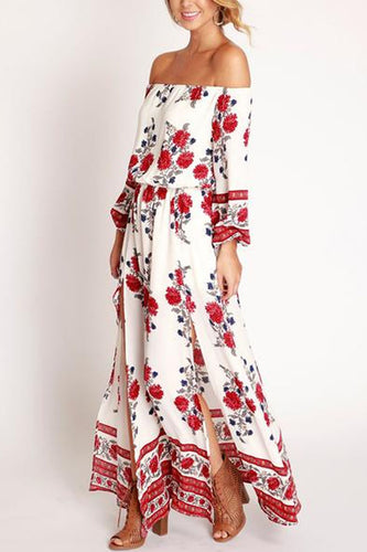 Collarless  Slit  Printed Maxi Dresses