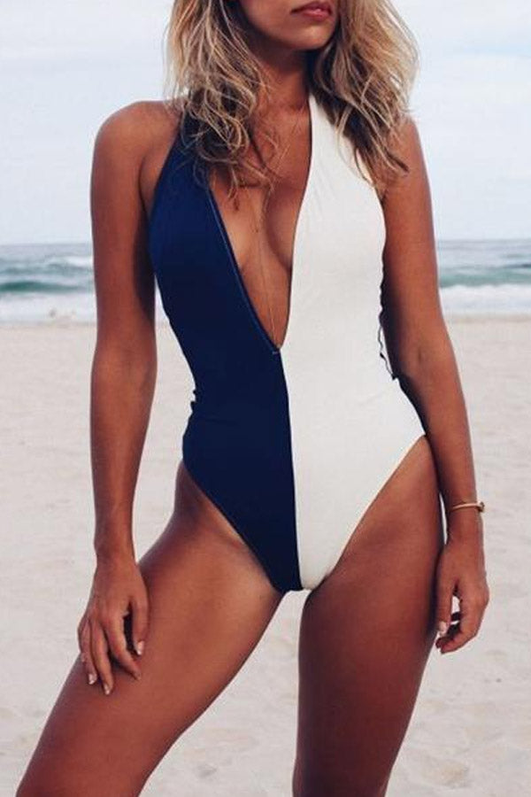 Halter  Color Block One Piece