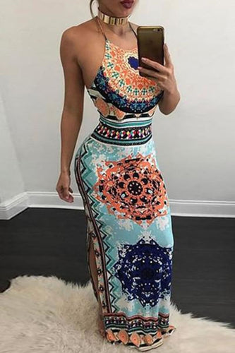 Hollow Out Printed  Sleeveless Maxi Dresses