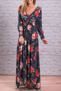 V Neck Printed  Long Sleeve Maxi Dresses