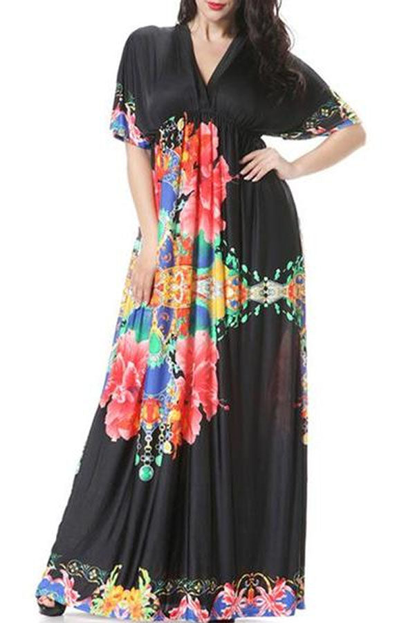 V-Neck Awesome Plus Size Maxi Dress