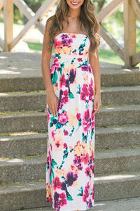 Strapless Printed Flared Maxi Dresses