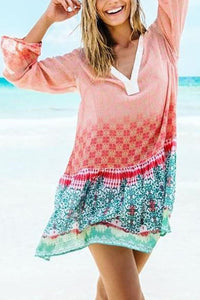 Casual V Collar Printing Loose Beach Vacation Dress
