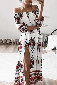 Open Shoulder  Slit  Printed Maxi Dresses