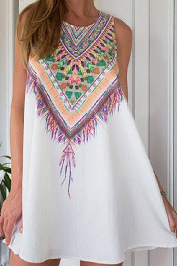 Digital Printed Round Neck Vacation Dress