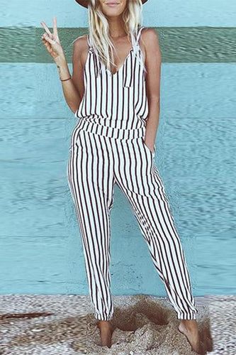 V-Neck Striped Jumpsuit