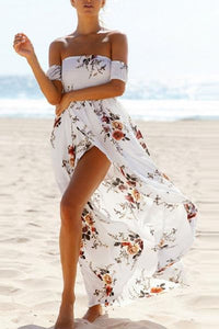 Off Shoulder  Asymmetric Hem Maxi Dresses