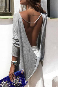 Round Neck  Backless  Plain T-Shirts