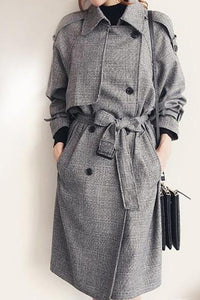 Plain Breasted Chic Lapel Trench Coats
