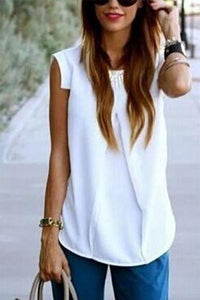 Round Neck  Plain Sleeveless T-Shirts