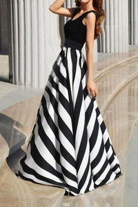 Round Collar Stripe Expansion Evening Dress