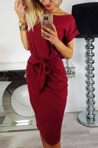 Round Neck  Belt  Plain  Short Sleeve Bodycon Work Dresses