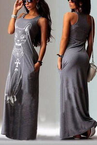 Cat Printed Sleeveless Maxi Dress