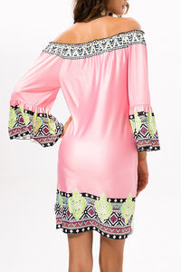 Pink Exotic Off Shoulder Printed Casual Dress