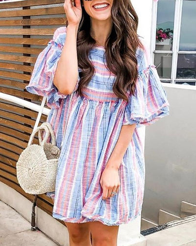 Fashion Round Neck Bell Sleeve Stripe Loose Dress