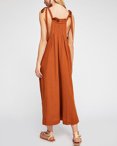 Shoulder Strap Bow Wide Leg Jumpsuit