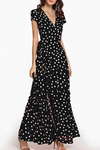 Deep V Neck  Belt  Print  Short Sleeve Maxi Dresses