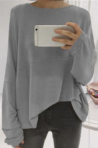 Loose Round Neck Long Sleeve Plain Shirt