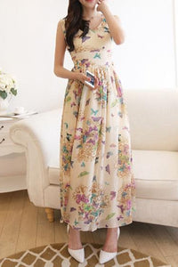 V-Neck Butterfly Printed  Chiffon Maxi Dress