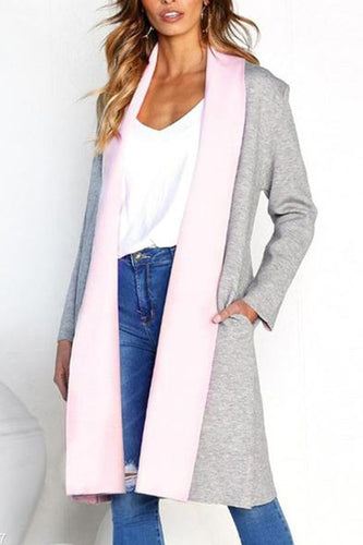 Lapel Long Sleeve Color Block Cardigans