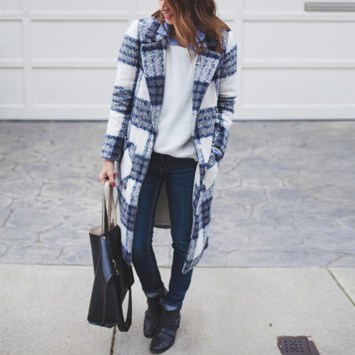 Autumn/Winter Fashion Mid-Length Plaid Woolen Coat