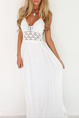 Halter  Elastic Waist  Hollow Out Plain  Sleeveless Maxi Dresses